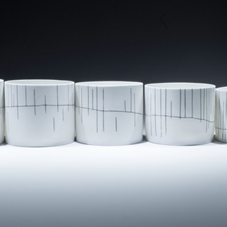 """Carol Snyder (Contemporary) 'The Way Up, Mt. Chocorua', 2019 Wheelthrown, incised and inlaid line work 3 1/2 / 4 1/4"""" h x 23 1/2"""" length (4 3/4"""" dia each)  $2,000"""