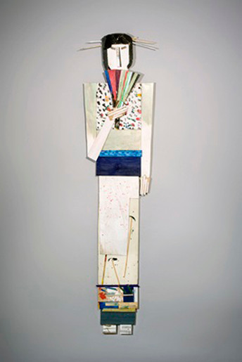 Tamara Jaeger 'Flowers Kimono with Fan', 2009 Found and painted wood assemblage 71 x 17 x 3 inches  $4,500