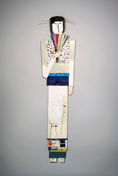 Tamara Jaeger 'Flowers Kimono with Fan', 2009 Found and painted wood assemblage 71 x 17 x 3 inches  Sold