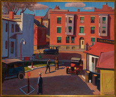 """Robert Chadeayne """"Service Station"""", 1935 Oil on canvas 30 x 36 inches Signed and dated lower right: R. O. Chadeayne, '35"""