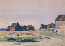 """Edward Hopper """"Shacks at Lanesville"""", 1923 Watercolor on paper 14 x 20 inches Signed, dated and inscribed lower right: Edward Hopper, Gloucester 1923"""