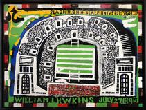 """William Hawkins """"Ohio Stadium No. 1"""", 1983 Enamel on Masonite 36 x 48 inches"""