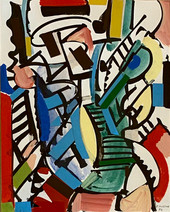"""""""Banjo Player"""", 1986 Gouache collage 10 x 8 inches      $1,250"""