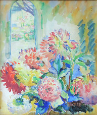 """""""The Garden Door"""", c. 1920-25  Watercolor on paper 20 ⅞ x 17 ⅜ inches Estate stamped lower left: A. Schille P.O.R."""