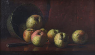 """Silas Martin (1841-1906) """"Still Life with Apples"""", c. 1880's  Oil on canvas 12 x 20 ¼ inches  On Hold"""