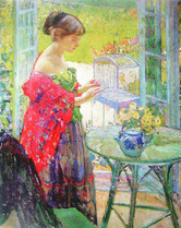 """Richard Miller """"The Bird Cage"""", c. 1913-1914 Oil on canvas 39 1/2 x 31 3/4 inches Signed uppwer left: Miller"""