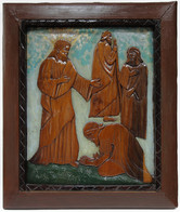 """Elijah Pierce """"Humility (Holy Family)"""", 1936 Painted bas relief woodcarving  26 x 23 inches"""