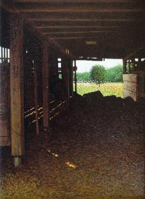 Alan Gough 'Through The Barn', 2016-2018 Oil on canvas board 12 x 9 inches  Sold