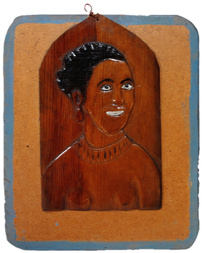 """""""Black Beauty (Lena Horne)"""" c. 1940s Painted bas relief wood carving on panel. 10 1/2 x 8 1/2 inches P.O.R."""