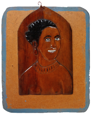 Elijah Pierce 'Black Beauty (Lena Horne)' c. 1940s Painted bas relief wood carving on panel. 10 1/2 x 8 1/2 inches P.O.R.