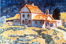 """George Luks """"My House, Berk(shire) Hills"""" c. 1931 Watercolor and tempera on paper 14 x 20 inches Signed lower right: George Luks Titled on reverse"""