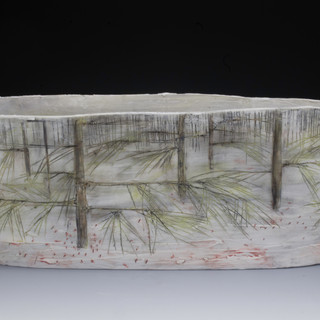 Carol Snyder (Contemporary) 'Reindeer Moss, Welch, Dickey', 2021 Wheelthrown, altered porcelain 4 3/4 x 11 3/4 inches  $1,200