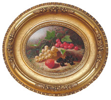 """Edward Edmondson Jr. """"Still Life of Grapes and Berries"""", c. 1865 Oil on board 5 x 6 5/8 inches Inscribed on verso: pr$15 / Property of Mrs. E. Jane Spence / Springfield Oh / Painted by her brother in Dayton Ohio / about 1865-60 Edward Edmondson / Artist"""