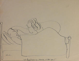 """James Thurber (1894-1961)  """"I haven't got a fever I tell you!"""", circa 1935 Ink on paper 8 1/2 x 11 inches Signed lower right: Thurber  P.O.R."""