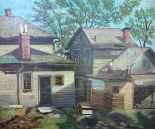 """Roman Johnson (1917-2005) """"Houses"""", 1943  Oil on canvas 24 x 29 inches Signed Lower left: 1943 ROMAN  Sold"""