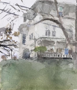 """Neil Riley """"State Street, Montpelier"""", 2014 Watercolor on paper 4 ½ x 5 inches $700"""