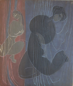 The Mimic Grace Martin Taylor Woodblock/ Side 1 Block cut 1958 13 3/4 x 12 inches  On Side 2 of this Woodblock: Composition No. 3  $4,000.00