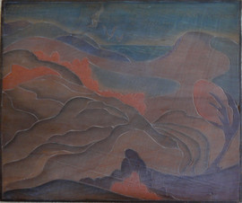 Cape Cod Sand Dunes Grace Martin Taylor Woodblock/ Side 1 Block cut 1935 11 7/8 x 13 3/4 inches  On Side 2 of this Woodblock: View from South Hills  $3,000.00