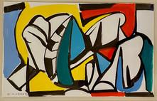 Edmund Kuehn (Historic, 1916-2011)   'Draped Symbols', 1982 Ink and collage 5 x 8 inches Signed lower left: E Kuehn 82      $1,200
