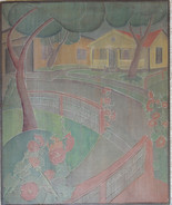 Hollyhock Time Grace Martin Taylor Woodblock/ Side 1 Block cut 1932 13 11/16 x 11 7/8 inches Signed on edge of woodblock  On Side 2 of this Woodblock: White Cottage  $4,000.00