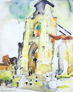 """Alice Schille (1869-1955) """"Lisieux, France (Ancienne Église, Saint Jacques)"""", c. 1914 Watercolor on paper 6 ¼ x 5 ¼ inches Signed lower left: A. Schille; Titled verso on paper mount: Lisieux, France   P.O.R."""
