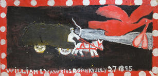 """William Hawkins (1895-1990) """"Hurry Call"""", c.1982  Enamel with cornmeal on panel 24 x 47 1/2 inches Signed lower portion of painting: WILLIAM L HAWKINS and annotated """"JULY 27, 1895"""".  P.O.R."""