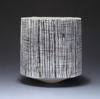 Carol Snyder (Contemporary) 'Twilight', 2021  Wheel thrown porcelain, colored porcelain slips, hand carved 4 1/4h x 4d inches  $500