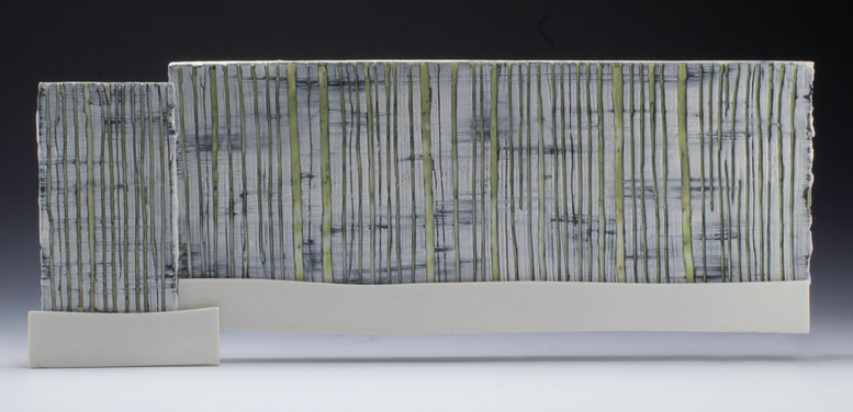"""Carol Snyder """"Birch and Moss, Mt. Lafayette"""", 2019 High fired porcelain, colored porcelain slip  6 x 15 1/2 inches  $1000"""