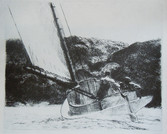 """Edward Hopper """"The Cat Boat"""", 1922 Etching 7 7/8 x 9 3/4 inches Signed in pencil"""