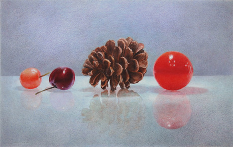 Lowell Tolstedt 'Still Life with Pine Cone', 2017 Colored pencil 7 ⅝ x 12 inches $3,150