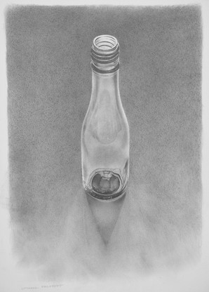 """Lowell Tolstedt """"Bottle with Shadow"""", 1995 Graphite 12 ¼ x 8 ½ inches  $1,650"""