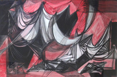 """Forms in Red Space, 1959 Grace Martin Taylor Watercolor and Ink 26 x 36 inches Signed and dated """"Grace Martin Taylor 1959"""" along bottom.  $4,500.00"""