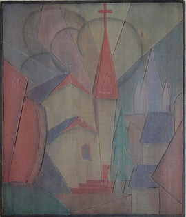 Trinity Episcopal Church Grace Martin Taylor Woodblock/ Side 2 Block cut 1932 13 3/4 x 12 inches  Side 1 of this Woodblock: Red Barn  $3,500.00