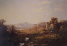 """Robert Scott Duncanson """"Landscape with Classical Ruins (Temple of Sibilla)"""", 1859 Oil on canvas 36 x 60 inches"""