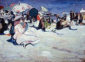 """Jane Peterson """"At the Beach"""", c. 1915-1920 Oil on panel 10 x 13 1/2 inches Signed lower right: Jane Peterson"""