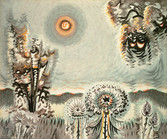 """Charles E. Burchfield """"Sultry Moon"""", 1959 Watercolor on woven paper 33 x 40 inches Signed in monogram and dated lower left: CEB 1959"""
