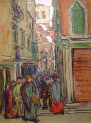 Crowded Street in Venice (Venice Street Scene)