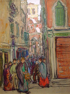"""Jane Peterson """"Crowded Street in Venice (Venice Street Scene)"""", c. 1912 Gouache 24 x 18 inches Signed lower right: Jane Peterson"""