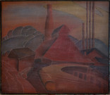 """""""Morgantown Factories"""" Woodblock/ Side 1 Block cut 1928 11 7/8 x 13 11/16 inches  Sold"""