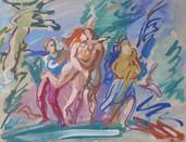 """""""The Abduction"""", 1956 Casein 15 x 20 inches  P.O.R."""