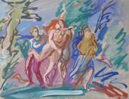 Edmund Kuehn (Historic, 1916-2011) 'The Abduction', 1956 Casein 15 x 20 inches  P.O.R.