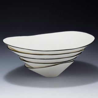 Carol Snyder (Contemporary) 'Kairn Landscape', 2020 Individually wheel thrown porcelain vessels, assembled after firing, Incised inlaid linework 3 1/4h x 6 1/2d inches  $700