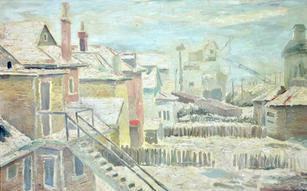 "Roman Johnson (1917-2005) ""Urban Scene with Mills"", circa 1940s Oil on canvas 30 x 49 inches Signed : ROMAN  P.O.R."