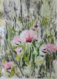 Rod Bouc 'Giverny Poppies II' Monotype on paper 30 x 22 inches P.O.R.