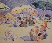 """Alice Schille """"Afternoon at the Beach, Gloucester"""", c. 1917-1918 Watercolor 17 x 20 1/4 inches Signed lower right: A. Schille"""