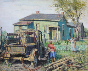 """Emerson Burkhart (1905-1969) """"Green House with Truck"""", 1951  Oil on canvas 22 ¼  x 27 inches Signed lower right: EMERSON C BURKHART (and license plate reads- ECB51)  Sold"""