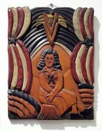 """Elijah Pierce """"Girl Scout"""", 1942 Painted bas relief woodcarving 13 x 10 inches"""