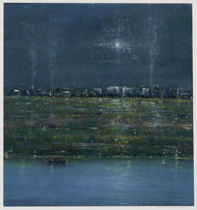 Eric Barth (Contemporary) 'The Blinding Night Sky', 2020 Oil pastel and soft pastel on paper 8 7/8 x 8 3/4 inches  Sold