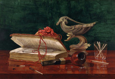 """Claude Raguet Hirst """"Book Closed Over Spectacles (proabably An Old Copy) also (Still Life with Pipe, Book and Glass)"""", c. 1894 Watercolor on illustration board 9 5/8 x 14 1/4 inches Signed lower right: Claude Raguet Hirst, NY"""