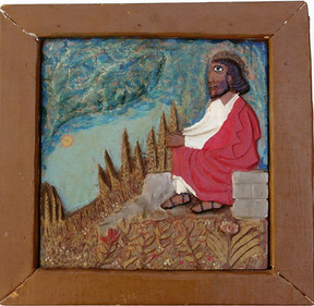 """""""Sermon on the Mount"""", 1965 Painted bas relief woodcarving 15 3/4 x 15 inches P.O.R."""